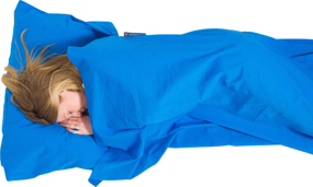Cotton Sleeping Bag Liner, Rectangular Blue LIFEVENTURE wkładka do śpiwora niebieska