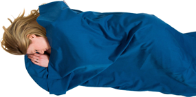 Polycotton Sleeping Bag Liner, Rectangular Navy LIFEVENTURE wkładka do śpiwora niebieska